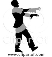 Free Clipart Of Man Walking Like Zombie Black Silhouette Version