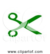 Free Clipart Of Open Green Scissors