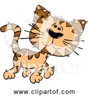 Free Clipart Of Cartoon Orange Cat Walking
