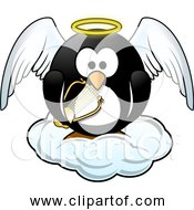Free Clipart Of Penguin In Heaven With Harp Wings Cloud And Halo