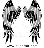 Free Clipart Of Angel Wings Black Silhouette Version