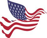 Free Clipart Of A Peace Dove With An American Flag Pattern