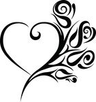 Free Clipart Of A Heart Wedding Frame With Black And White Tribal Roses