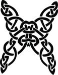 Free Clipart Of A Butterfly Celtic Knot In Black And White