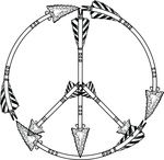 Free Clipart Of A Flint Arrow Peace Symbol