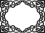 Free Clipart Of A Celtic Rectangle Frame Border Design Element In Black And White Knots