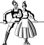 Free Clipart Of A Retro Black And White Couple Dancing