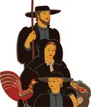 Free Clipart Of A Retro Amish Family With A Chicken