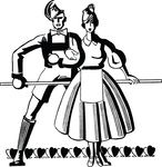 Free Clipart Of A Retro Black And White Couple Dancing With A Line Of Hearts