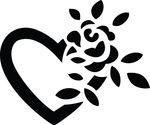 Free Clipart Of A Black And White Fully Bloomed Rose And Love Heart