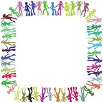 Free Clipart Of A Square Border Frame Of Colorful Disco Dancers