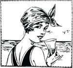Free Clipart Of A Vintage Woman At A Beach Holding A Beverage And Looking Back