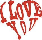 Free Clipart Of A Red Heart Formed Of I Love You