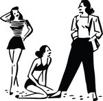 Free Clipart Of Retro Women In Different Outfits