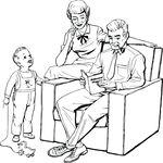 Free Clipart Of A Retro Father Reading A Dads Day Card