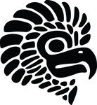 Free Clipart Of A Black And White Mexican Eagle Mascot Head