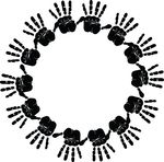 Free Clipart Of A Round Frame Of HandPrints In Black And White