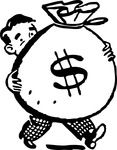 Free Retro Clipart Illustration Of Man Carrying Big Bag Of Money With Dollar Sign