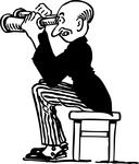 Free Conceptual Retro Clipart Illustration Of A Curious Man Spying With Binoculars