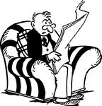 Free Retro Clipart Of A Man Reading Interesting News From A Newspaper