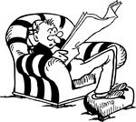 Free Retro Clipart Illustration Of A Man Sitting On Chair While Reading Daily Newspaper