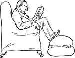 Free Retro Clipart Illustration Of Man Reading Book While Sitting In Chair