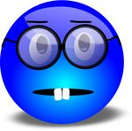 Nerdy Blue Smiley With Overbite And Glasses Free 3D Clipart Illustrations