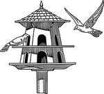 Free Clipart Of A Black And White Bird Feeder House