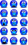 Free Blue Series Of 3D Smileys