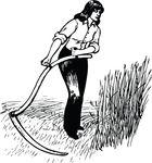 Free Clipart Of A Female Farmer Harvesting Wheat With A Scythe