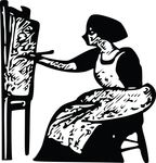 Free Clipart Of A Black And White Woman Piainting A Canvas