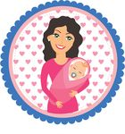 Free Clipart Of A Happy Mom Holding Her Baby In A Circle