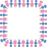 Free Clipart Of A Square Border Of Boys And Girls