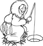 Free Clipart Of An Ice Fishing Eskimo