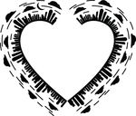 Free Clipart Of A Silhouetted City Skyline Forming A Heart Frame