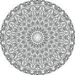 Free Clipart Of A Black And White Calligraphic Circle Mandala
