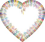 Free Clipart Of A Colorful Abstract Heart Border