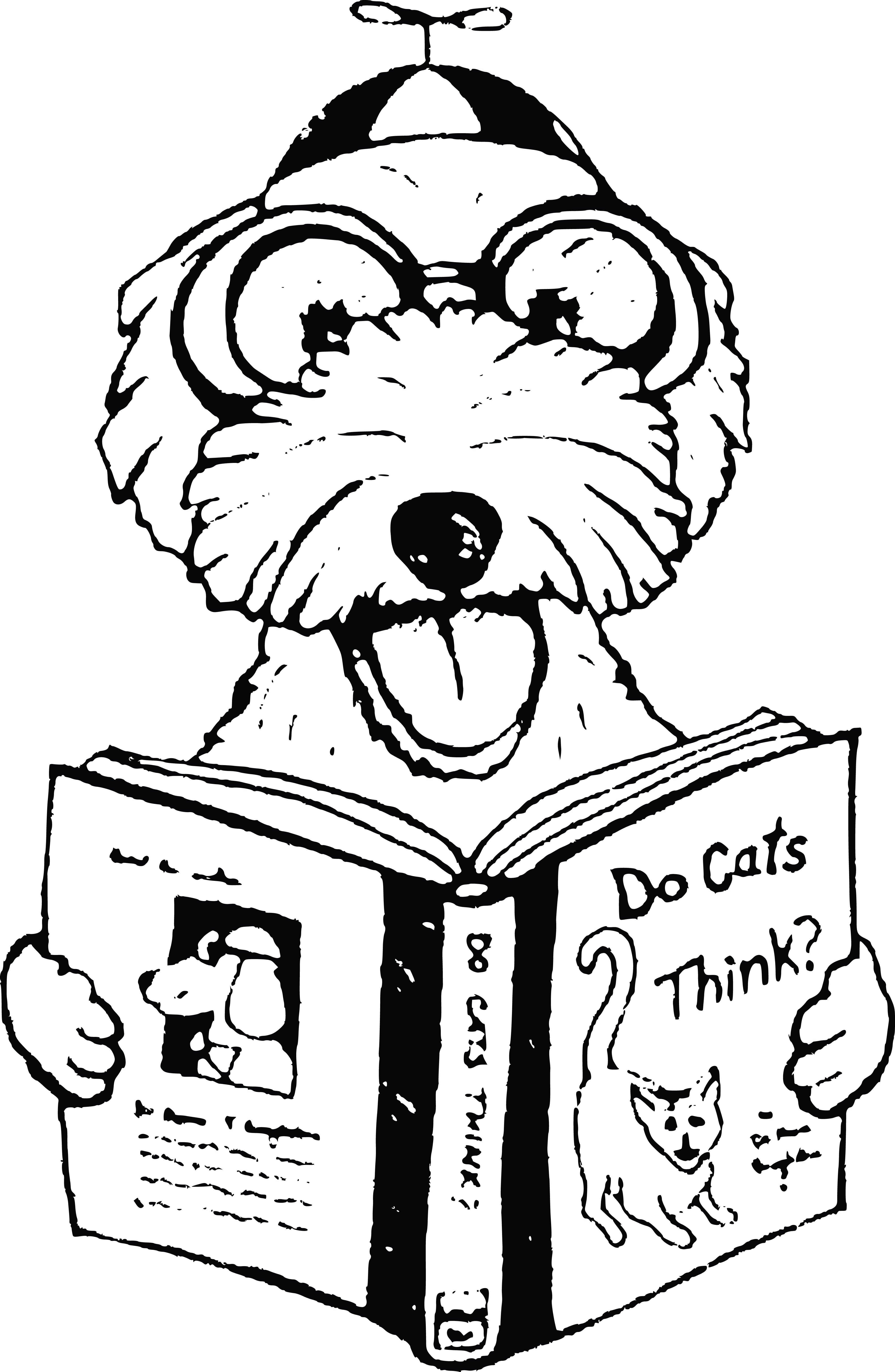 free clipart of a dog reading a book about cats Dog Pork BBQ
