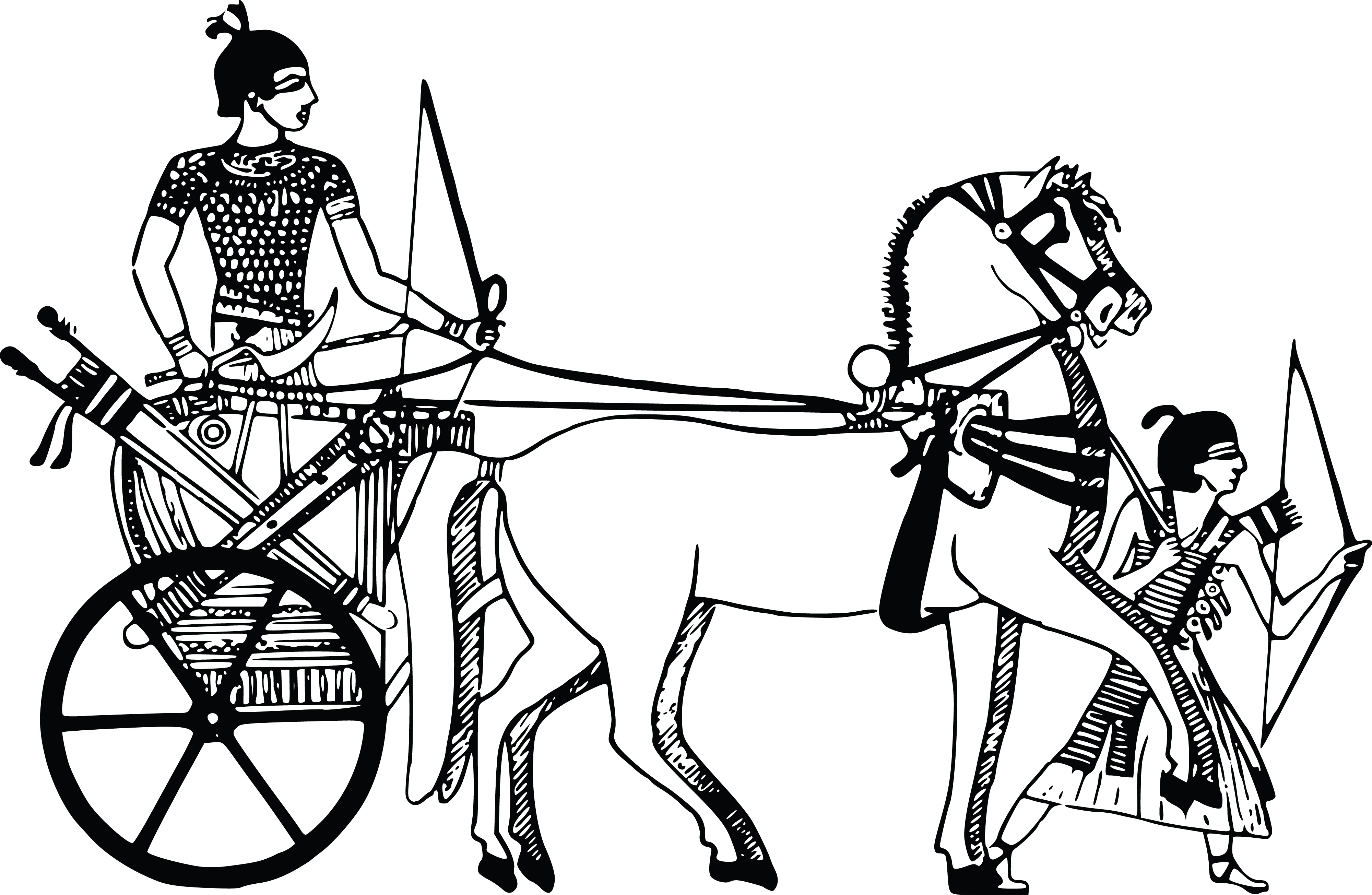 Free Clipart Of An Egyptian Carriage And Bow Hunters