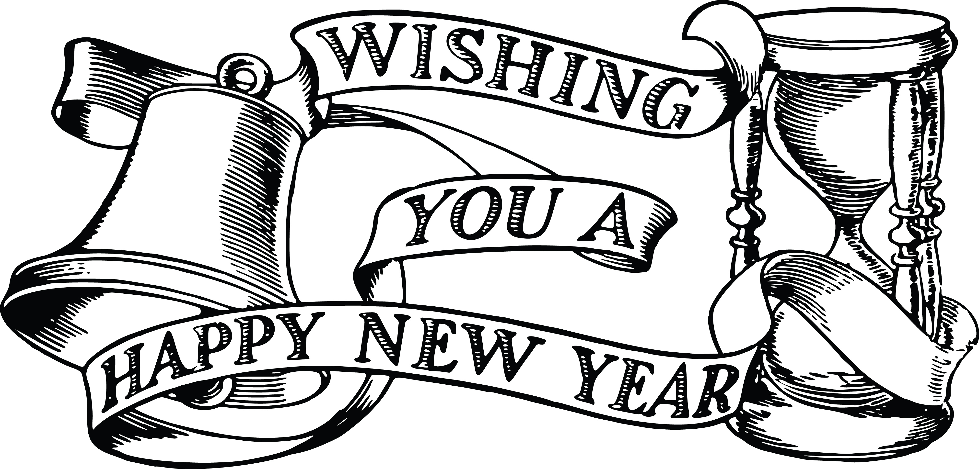 Free Clipart Of A Bell Hourglass And Happy New Year Banner #00011822 .