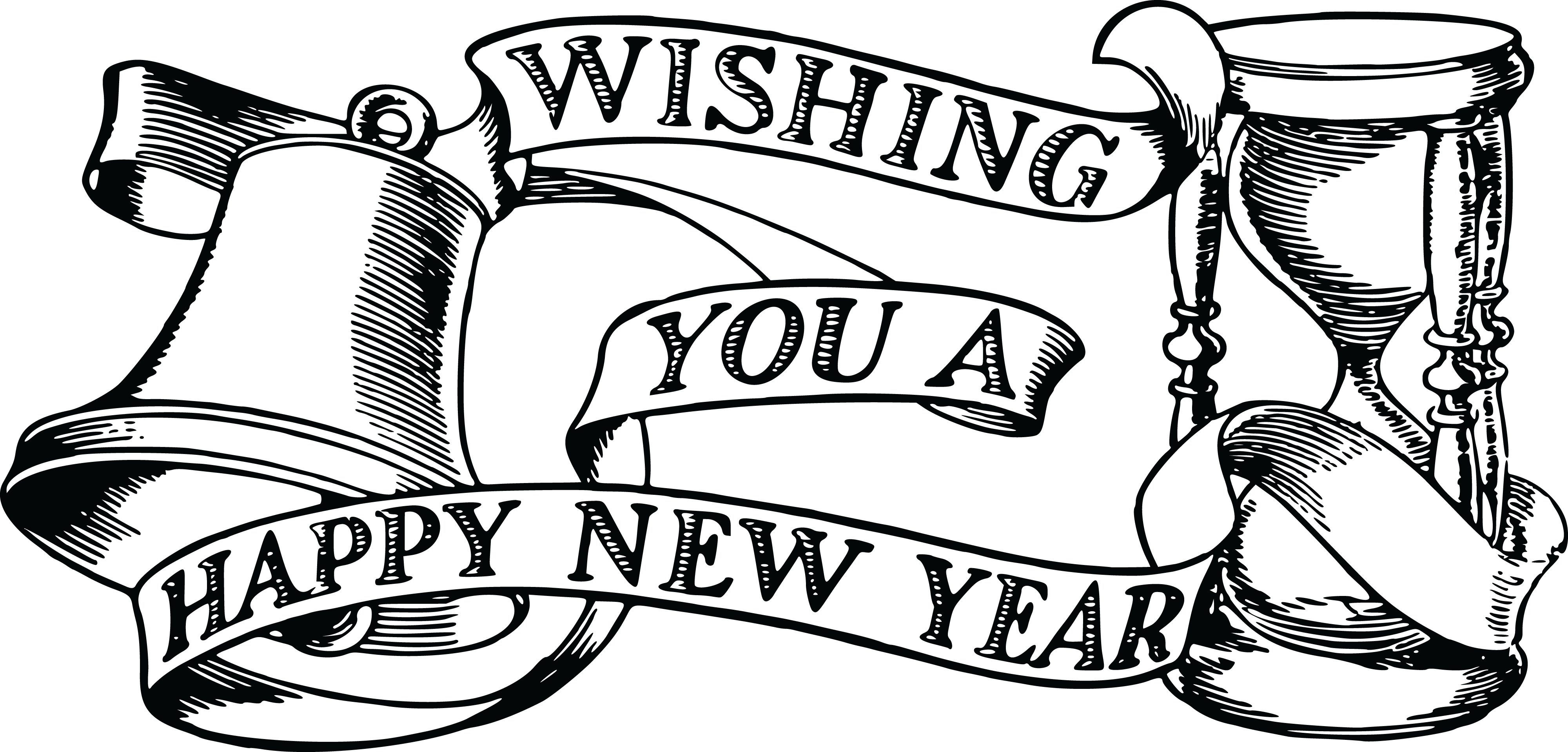 free clipart of a bell hourglass and happy new year banner 00011822