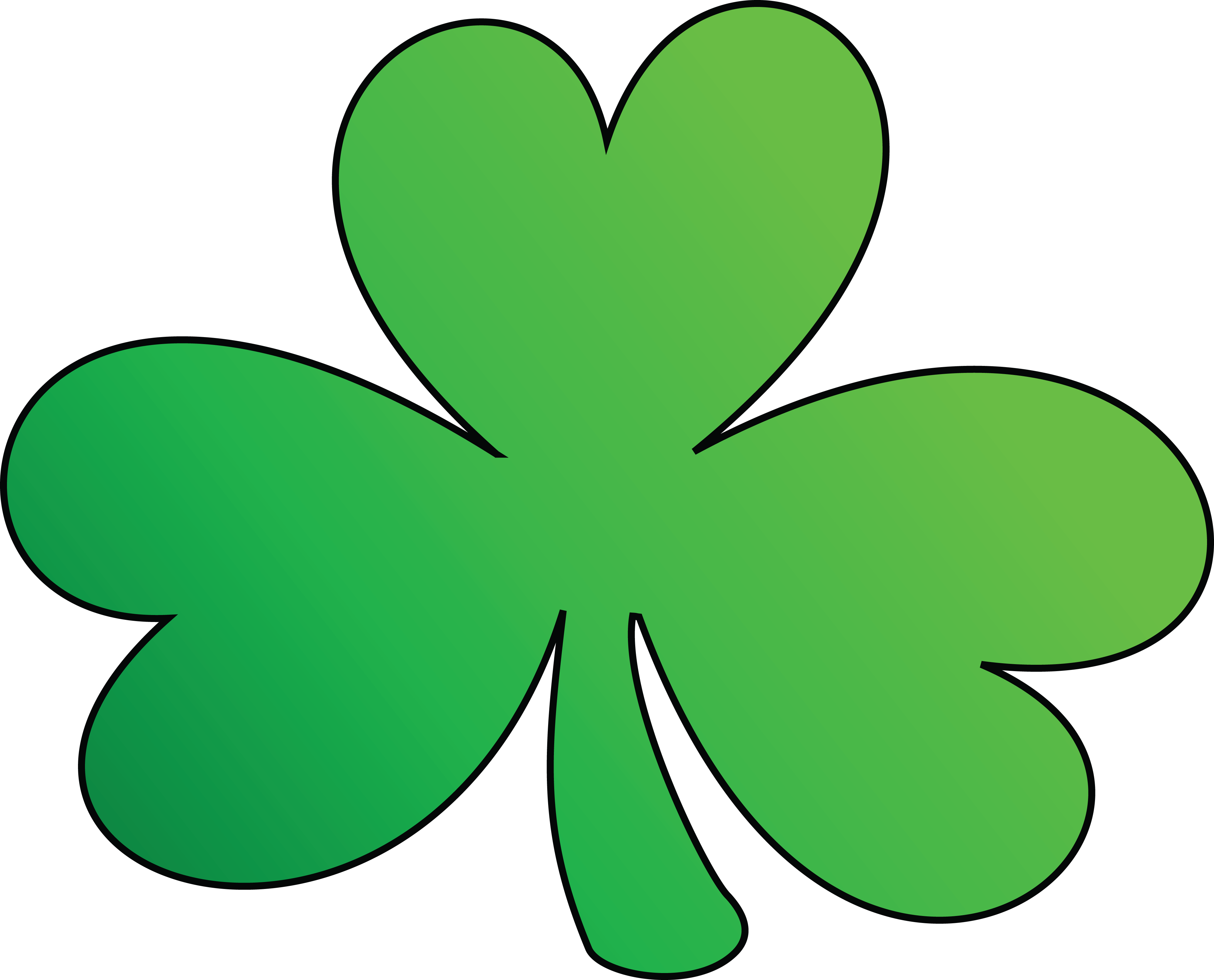 Free Clipart Of A Green Outlined Clover Shamrock, St ...