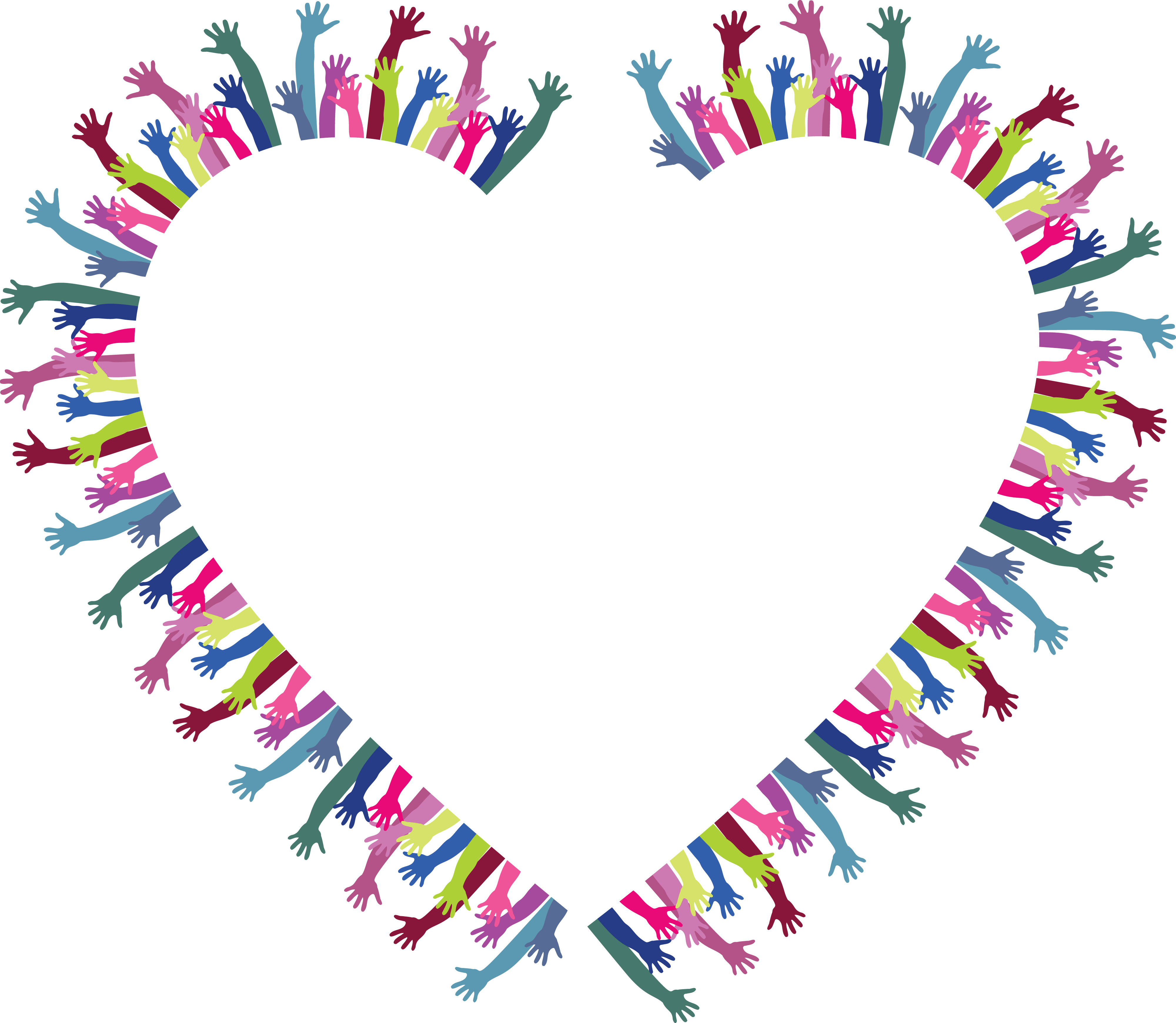 free clipart of a heart frame of hands