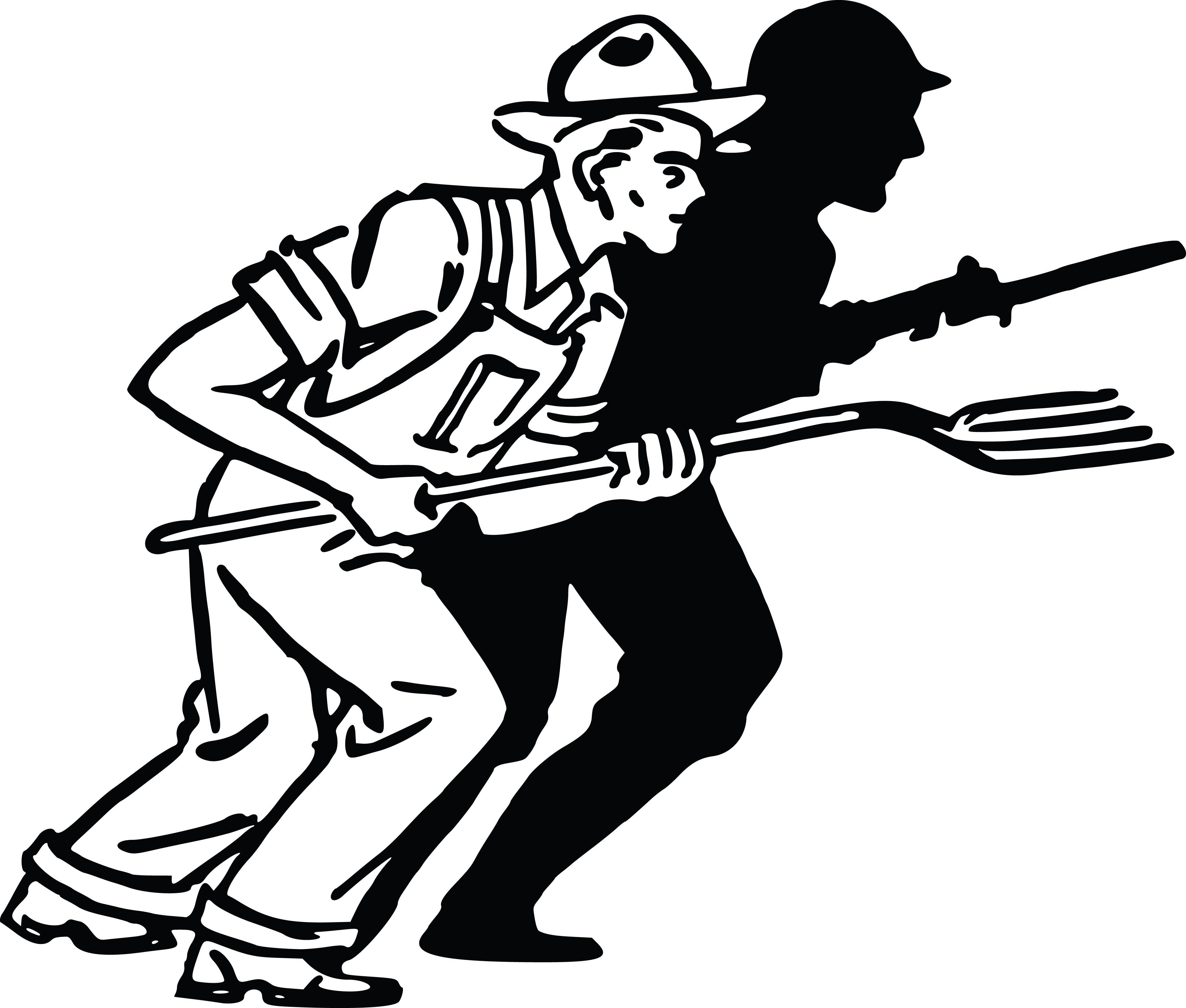 Free Clipart Of A Silhouetted Soldier And Farmer