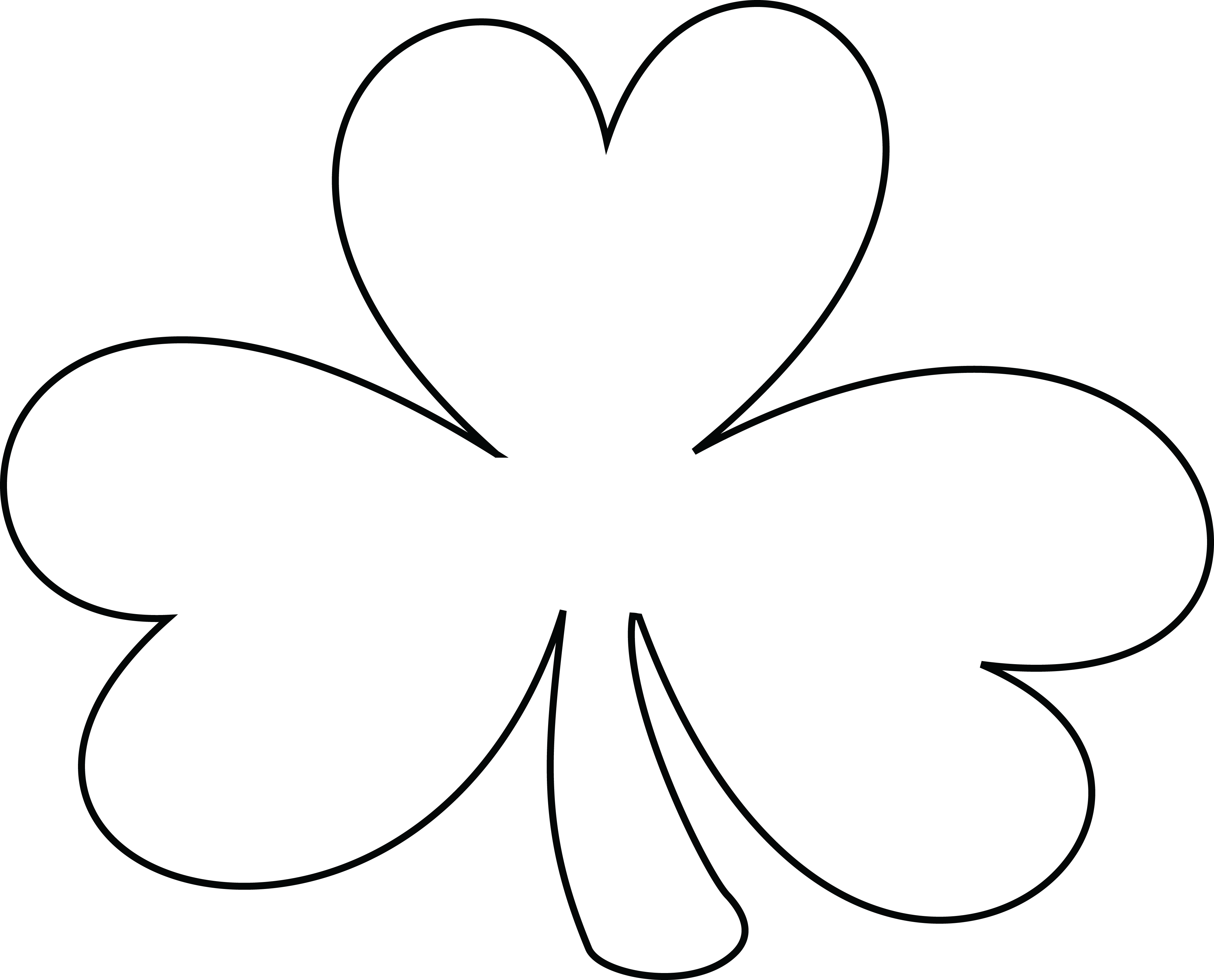 Free Clipart Of A Black and White Lineart Coloring Page Shamrock ...