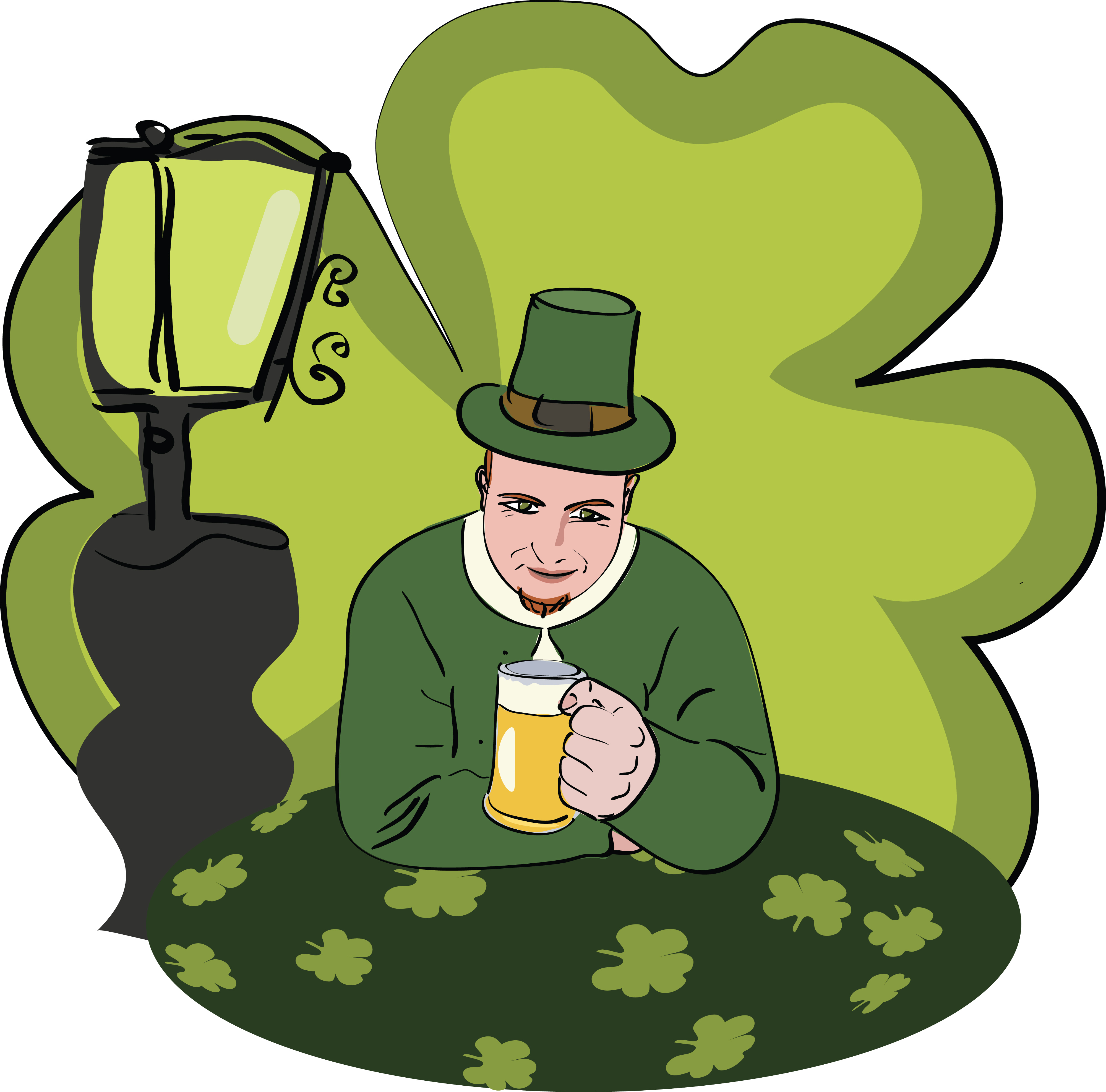 clipart of a st patricks day man drinking beer