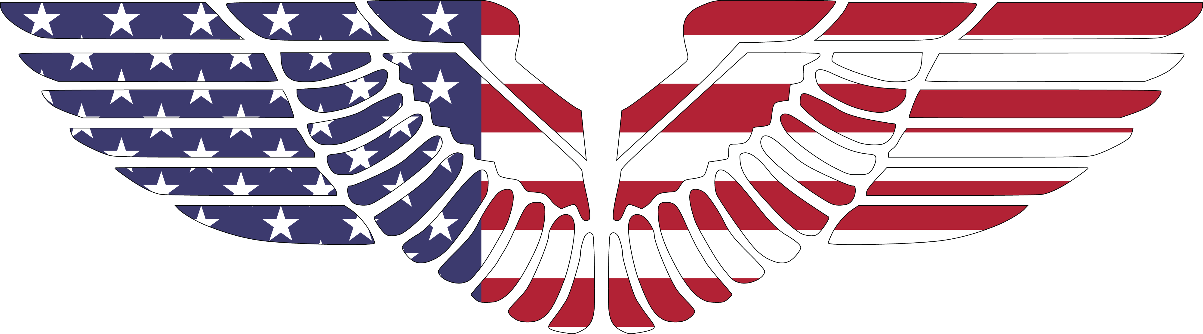 Free Clipart Of eagle wings in american flag pattern