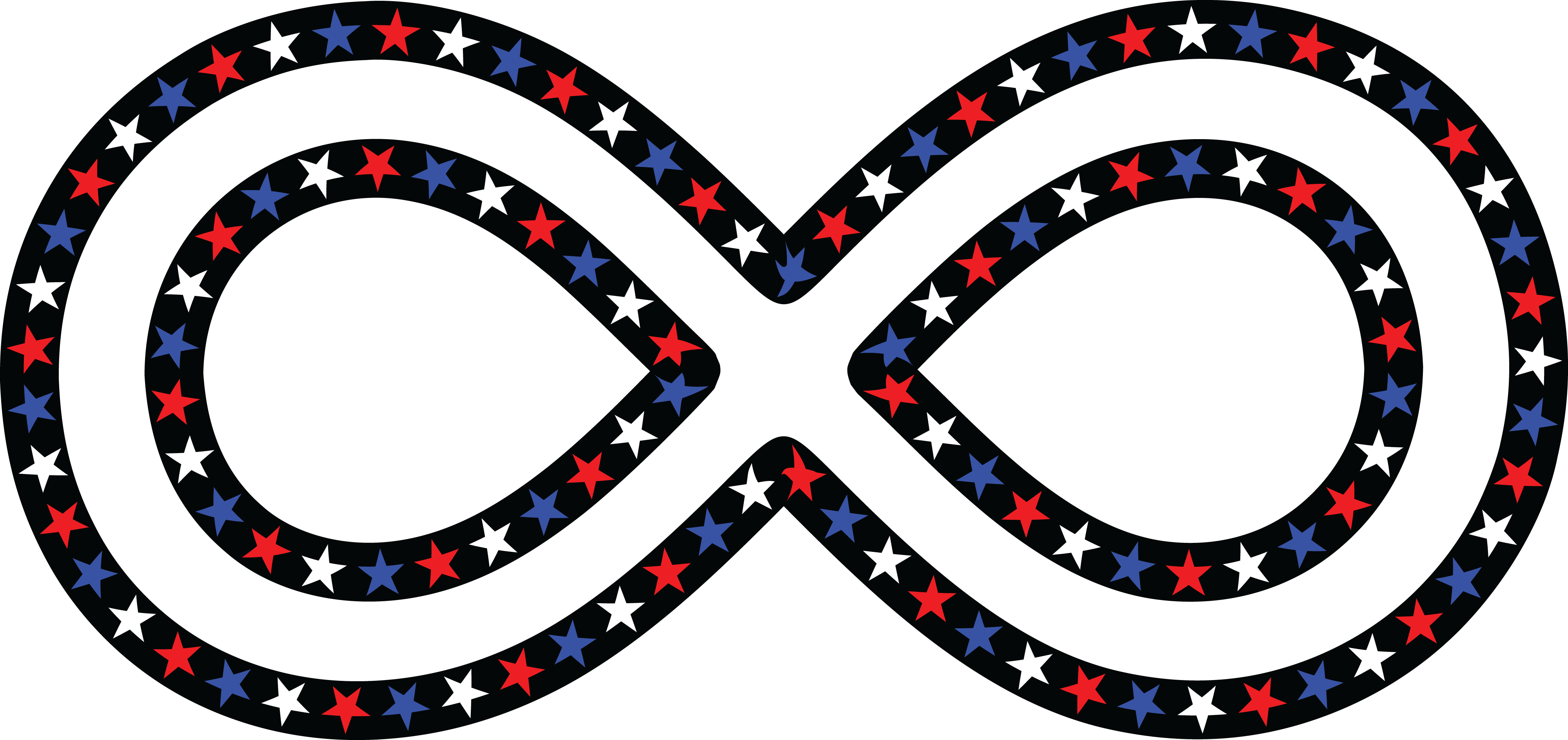 Free Clipart Of A Patriotic American Star Patterned Infinity Symbol
