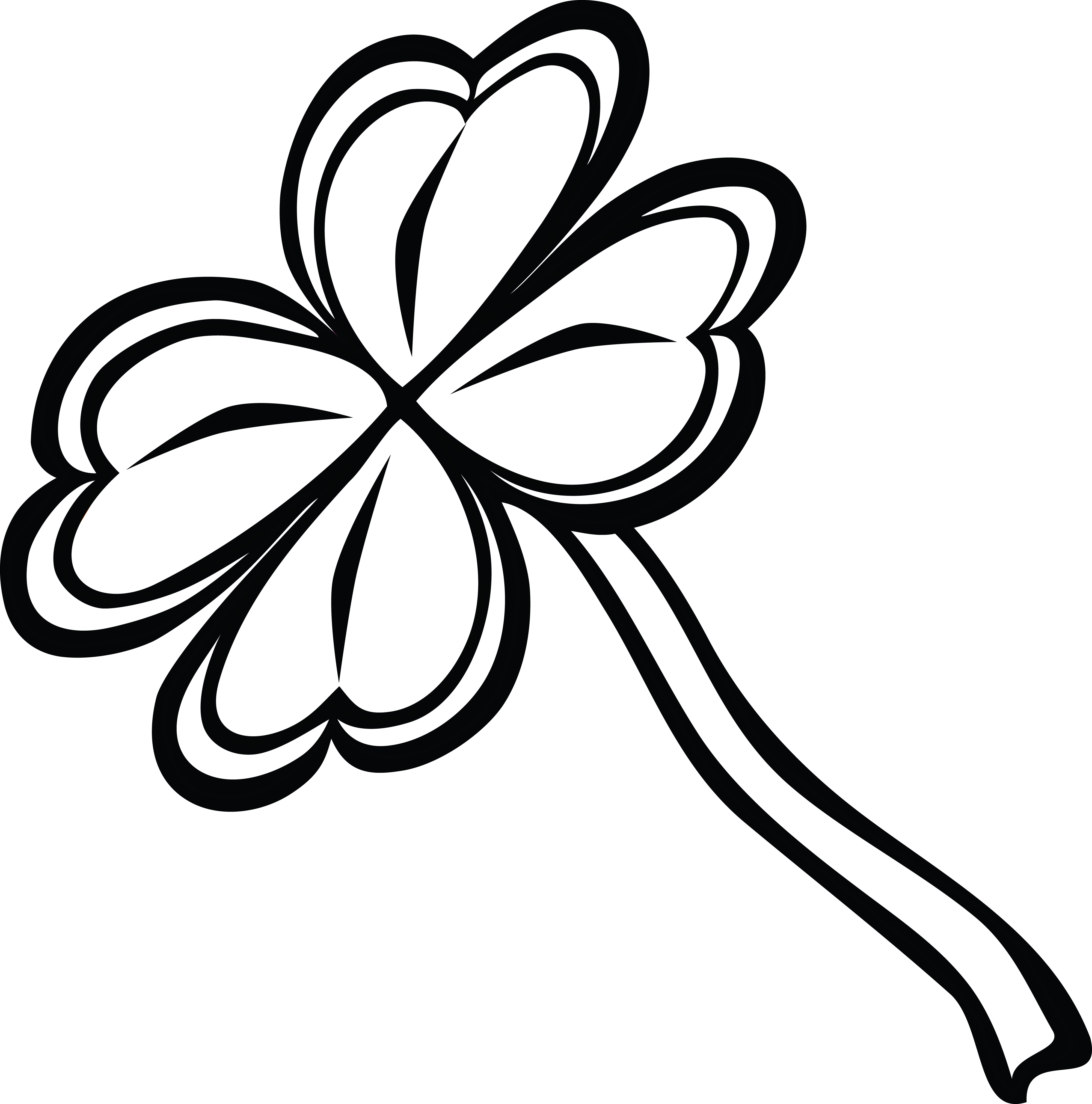 free clipart of a black and white st paddys day 4 leaf