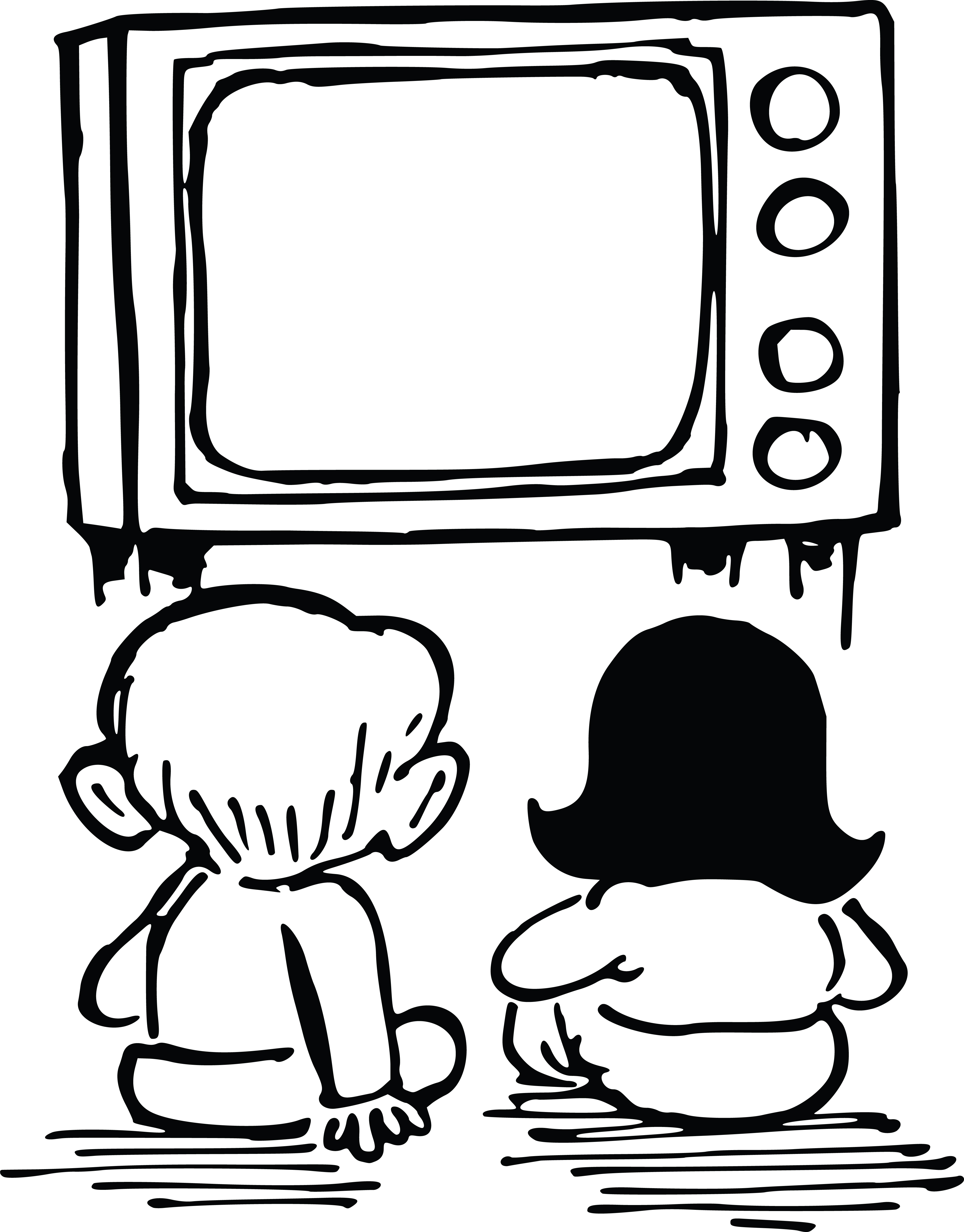 free clipart of kids watching tv rh free clipartof com tv clipart transparent background tv clip art black and white